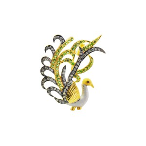Silver Gold Plated with Black Rhodium Tsavorite & Zircon Peacock Brooch
