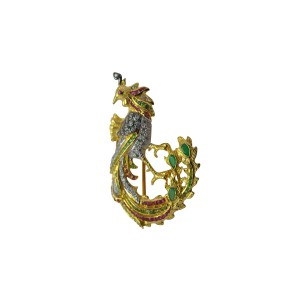Silver Gold Plated Tsavorite, Ruby, Green Onyx & Zircon Bird Brooch