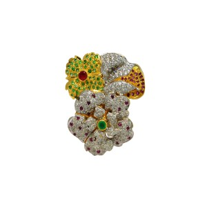 Silver Gold Plated Tsavorite, Ruby, Green Onyx, Garent & Zircon Floral Brooch